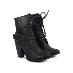 New Ladies Low High Heel Army Military Biker Ankle Long Boots ($18) ❤ liked on Polyvore featuring shoes, boots, ankle booties, heels, sapatos, botas, military style boots, long boots, low booties and low heel boots