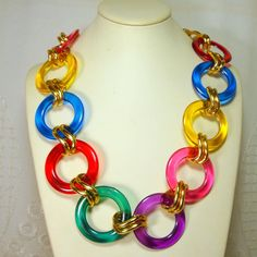 Rainbow Colored Lucite Belt or Necklace Gold by VintageStarrBeads, $24.00