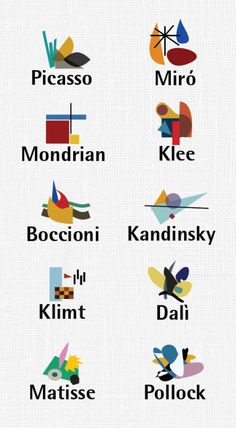 Minimalist pictogram icons for famous painters, using colors and shapes reflective of their signature styles.