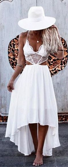 all white everything hat + dress