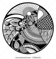 Illustration of Black and white abstract zendala on circle, relax and meditation zentangle art, monochrome vector illustration vector art, clipart and stock vectors. Mandala Doodle, Mandala Art Lesson, Mandala Artwork, Doodle Doodle, Doodle Art Drawing, Zentangle Drawings, Mandala Drawing, Art Drawings, Zentangles