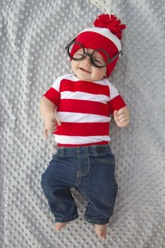 Where's Waldo Homemade Baby Costume. More Creative Baby Halloween Costume Ideas on Frugal Coupon Living.