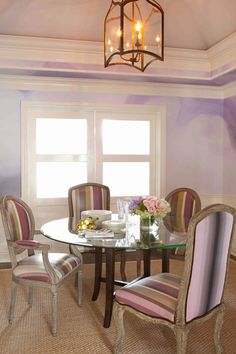 Dining room with vinylized chairs and watercolor wallpaper.  So easy to clean!  #luxurious #jfdesigns #jennfeldmandesigns