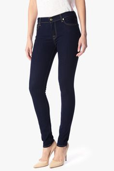 98% cotton dark skinny jeans: The Skinny in Rinsed Indigo by 7 for all mankind