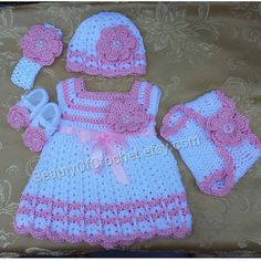 Mix and match! Crochet baby girl gift set, newborn girl dress, headband diaper cover baby hat and matching booties. Newborn photography.