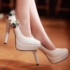 stylish white high heel