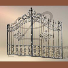Iron Fence Gate, Wrought Iron Driveway Gates, Iron Garden Gates, Iron Gates, Iron Gate Design, House Gate Design, Door Design, Window Grill Design Modern, Staircase Railing Design