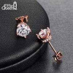 피 퀸 럭셔리 여성 웨딩 약혼 귀걸이 스터드 보석 로즈 골드/백금 도금 지르콘 스터드 귀걸이 DAE013