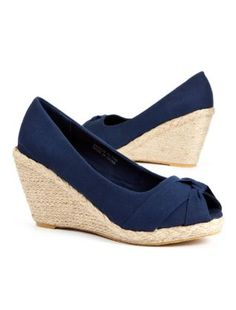 Navy (Blue) Navy Knotted Canvas Woven Wedge Courts | 245413541 |   £19.99 @Malah Morton