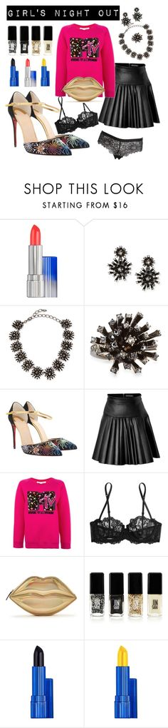 """""""Girl's Night Out by D.Shaw"""" by b-signature-dshaw ❤ liked on Polyvore featuring Estée Lauder, Oscar de la Renta, Christian Louboutin, David Koma, Marc Jacobs, La Perla, JINsoon and LoveStories"""