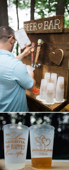 For their rustic DIY outdoor wedding reception, Amanda and Brian created a beer bar drink station complete with 24 ounce frosted shatterproof cups personalized with the wedding design 'To Love, Laughter and Happily Ever After' on one side and their names and wedding date on the other side. These cups can be ordered at http://myweddingreceptionideas.com/24_oz_personalized_frosted_plastic_cups.asp. Photos by http://timebandit-photography.com.