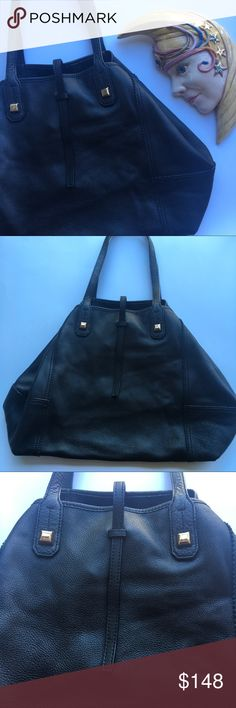 Stella & Dot Black Paris Market Leather Bag 💋 I can't even describe how buttery soft this gorgeous bag is! It has studs and a simple closure on the front. The inside is lined with extremely soft suede, and a beautiful snake print pouch with an affirmation. Excellent condition, was very well cared for. Siting in my closet just wanting to be loved! It even smells like fresh leather. 💕 Stella & Dot Bags