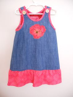 DENIM GIRL Jumper Size 4 by KidsStuffByMargrethe on Etsy, $25.00  Adorable JUMPER with appliqued poppy on front  Click to see more cute kids clothes www.etsy.com/shop/kidsstuffbymargrethe
