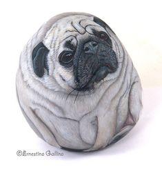 Bluette  Portrait of a pug dog Ritratto della carlina Bluette visto di lato Rock painting on rock     All rights reserved