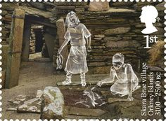 The prehistoric village of Skara Brae on Orkney that was inhabited more than years ago is to feature in a new series of Royal Mail stamps. Royal Mail Stamps, Orkney Islands, Prehistory, Bronze Age, British History, Stamp Collecting, Countries Of The World, Ancient History, Postage Stamps