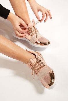 Jess Rose Gold Metallic Sparkle Detail Trainers