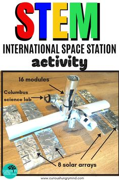 International Space Station STEM activity - STEM Teaching Ideas - Explore the International Space Station through this interactive STEM challenge. Search the room for - Space Activities For Kids, Steam Activities, Science Activities, Space Preschool, Interactive Activities, International Space Station, Stem Science, Stem Challenges, Space Theme