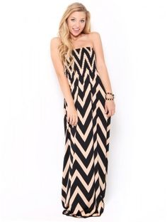 #Chevron Tube Maxi #Dress
