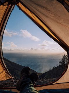 view of the pacific ocean from the tent, Big Sur, California.