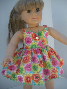 Colorful Sundress for American GIrl / 18  Dolls via Etsy. looks like a Joan Hinds design.