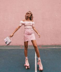You can never have too much pink. pink denim skirt and off the shoulder shirt. Visit Daily Dress Me at dailydressme.com for more inspiration. women's fashion 2018, pink outfits, jean skirts, off the shoulder shirts, monochromatic outfits, roller-skates, summer outfits 2018