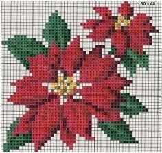 patron de punto de cruz de flor de pasuca de navidad                                                                                                                                                                                 Más