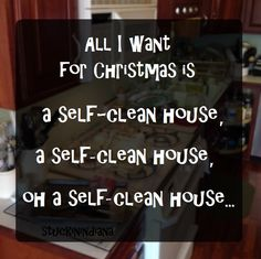 OH YES... SING-A-LONG... All I want for Christmas is a self-clean house, a self-clean house, oh a self-clean house...