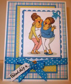 Ai Girlfriends Laughing set from Art Impressions. Friendship and Laugh Handmade Card