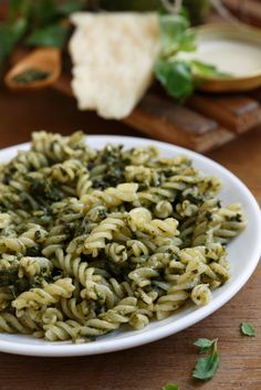 Pasta with Pesto: This is such an easy meatless main dish and one of our favorites.  The pesto is made using walnuts instead of pine nuts.  It's also dairy free and you won't even miss the cheese.