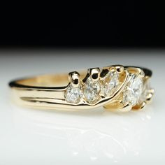 Vintage Marquise Cut Diamond Engagement Band Ring Diamond Band