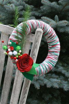 Christmas Yarn Wreath/Felt Flower/Rose/Ribbon by LizzyDesigns, $35.00