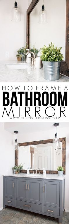DIY Bathroom Decor Ideas - Wood Framed Bathroom Mirror Tutorial - Cool Do It Yourself Bath Ideas on A Budget, Rustic Bathroom Fixtures, Creative Wall Art, Rugs, Mason Jar Accessories and Easy Projects - Home Decor Styles Wood Framed Bathroom Mirrors, Farmhouse Bathroom Mirrors, Diy Bathroom Decor, Bathroom Styling, Master Bathroom, Bathroom Colors, Bathroom Gray, Vanity Bathroom, Basement Bathroom