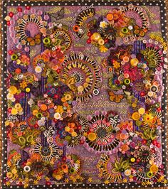 """Nancy Smeltzer,: """"Circles of Black, Circles of White 1"""" - art quilt embellished with buttons and beads."""