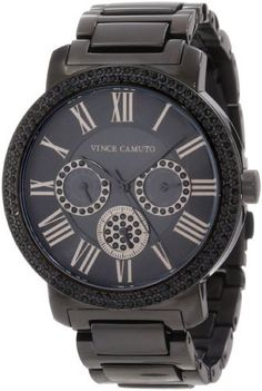 Vince Camuto Women's VC/5001BKBK Swarovski Crystal Accented Black Ion-Plated Multi-Function Bracelet Watch Vince Camuto. $250.00. Bezel set with 156 jet black genuine Swarovski crystals. Polished black ion-plated stainless-steel bracelet with fold-over two button safety clasp. 42 mm round stainless-steel case finished in polished black ionic-plating finish. Water-resistant to 30 M (99 feet). Black dial with 3 sub-dials featuring day, date and 24 hour functions...