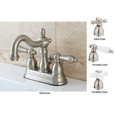 @Overstock - Satin Nickel English Bathroom Faucet - This double-handled satin-nickel finished faucet adds an element of historical style to your bathroom. It is constructed of durable solid brass and features reliable dripless cartridges, combining a timeless look with the latest technology.  http://www.overstock.com/Home-Garden/Satin-Nickel-English-Bathroom-Faucet/6091913/product.html?CID=214117 $75.99