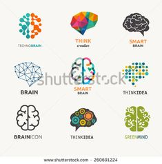 Collection of brain, creation and idea icons and elements. Vector illustrations