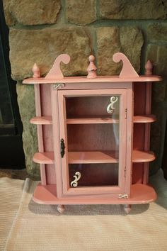 Shabby Chic Distressed Pink Curio Cabinet by vinestjewelry on Etsy, $38.00