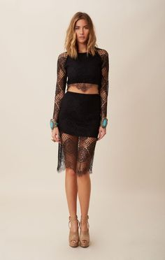 Lovely black lace dressy date night outfit.