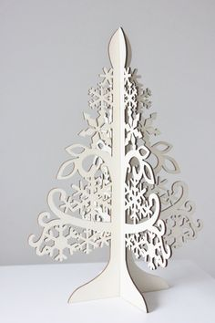 Beautiful laser cut wood Holiday Tree- perfect for DIY crafts, decorating, painting and more! Free Standing ( 2 pieces intertwine to make