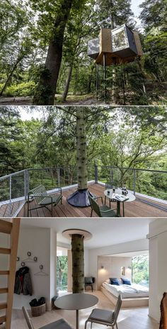 Løvtag treetop cabin is designed for nature lovers coming to enjoy serene natural beauty of Mariager Fjord in Denmark. Dream Home Design, House Design, Tiny House, Small Houses, House In Nature, Cabins In The Woods, Future House, Denmark, Cool Pictures
