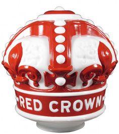 Rare Red Crown Milk Glass Gas Globe :