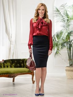 Red Satin Pussy Bow Blouse & Black Pencil Skirt - Sophisticated and down right sexy.
