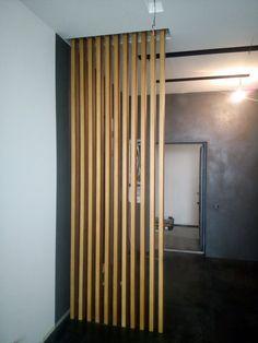 batten natural panels can Wood Partition, Room Partition Designs, Wooden Cladding, Wall Cladding, Wooden Room, Wooden Decor, Bamboo Room Divider, Divider Design, Wooden Screen