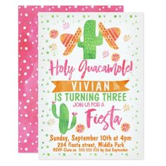 Girls Watercolor Fiesta Birthday Invitation - birthday diy gift present custom ideas