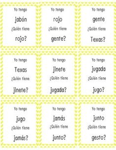These Yo Tengo Quien Tiene cards correspond with La Calle de la Lectura Unit One Chapter Four (Arboles por todos partes).  They contain twelve words with j, g, x spellings and the eight palabras de alta frecuencia featured in the chapter.  There are also blank cards for you to add additional words your students are studying.