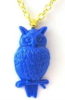 Vintage Blue Owl Necklace by TashaHussey on Etsy, $39.50