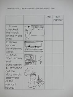 first grade editing checklist and lots more writing anchor charts....love this and can definitely use this come January :)