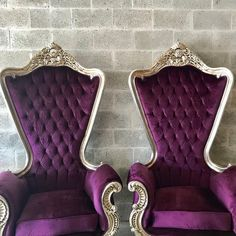 Ornamental & Decorative Materials Custom Baroque Purple & Silver Chairs - a Pair For Sale - Image 7 of 12 Purple Sofa, Purple Bedding, Glam Bedroom, Bedroom Decor, Girls Bedroom, Home Cinema Room, Nail Salon Decor, Dreams Beds, High Back Chairs