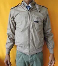Members Only Jacket Vintage 80s Zipper Cafe Racer Jacket Brown Indie Mods (25/04) by InPersona on Etsy