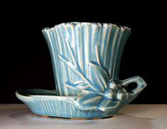 Vintage McCoy Pottery Blue Planter W/Leaves & Berries Excellent Condition